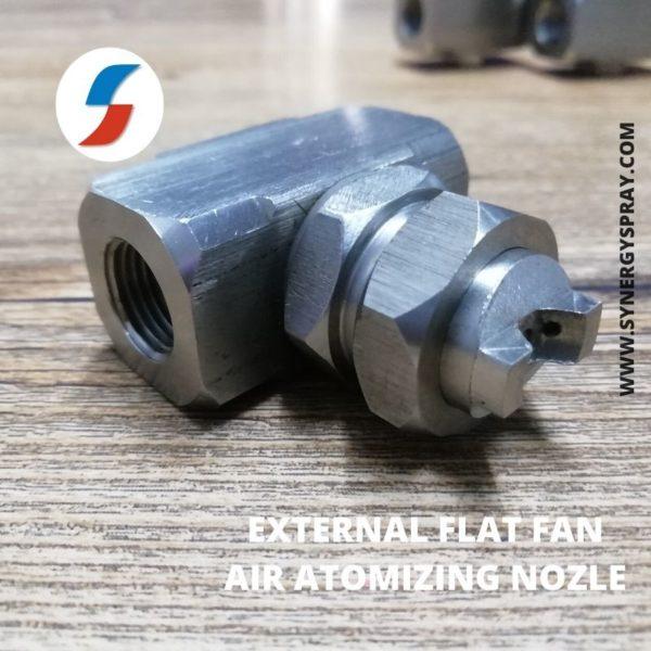 External flat fan air atomizing nozzle