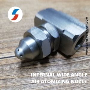 Internal wide angle air atomizing nozzle